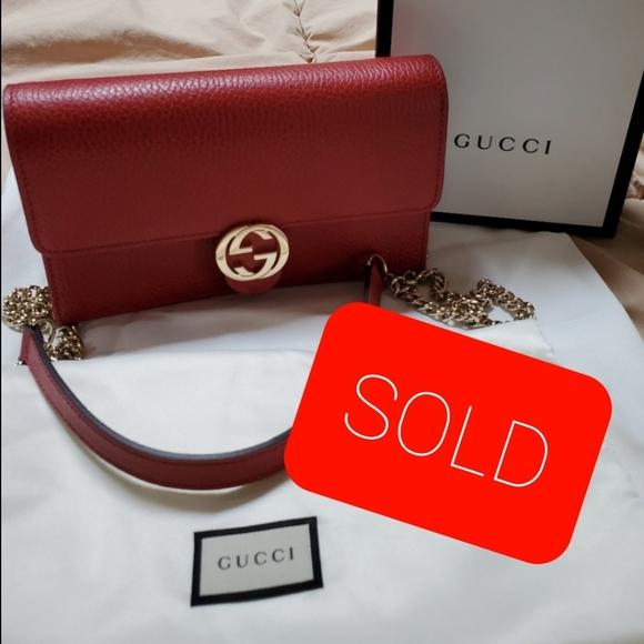 Gucci Red Interlocking GG Logo Bag